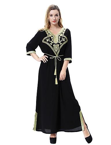 צווארון V מקסי צבע אחיד - שמלה משוחרר משוחרר מידות גדולות בסיסי / בוהו בגדי ריקוד נשים