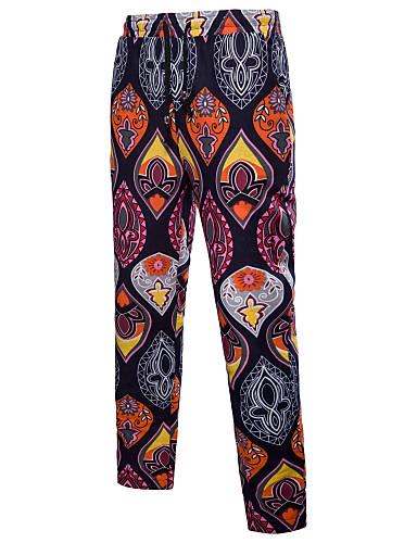 Męskie Luźna Typu Chino Spodnie - Nadruk, Geometric Shape