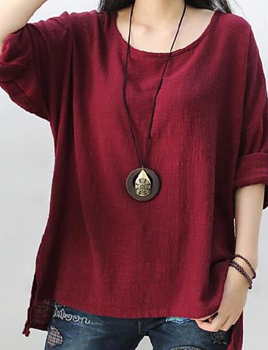 abordables Hauts pour Femme-Tee-shirt Femme, Couleur Pleine - Coton simple Vert / Printemps