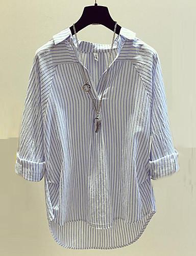 abordables Camisas y Camisetas para Mujer-Mujer Chic de Calle Noche / Trabajo Algodón Camisa, Escote en Pico A Rayas Azul Piscina M / Primavera / Verano / raya fina