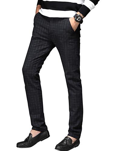 Męskie Typu Chino Spodnie - Prążki Granatowy