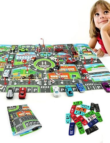billige Lekebiler i støpejern-10Pcs Cars &1Pcs Map 83*58CM City PARKING LOT Roadmap Lekebiler Kjøretøy Kart Bil Metall-legering Barne Gutt Jente Leketøy Gave
