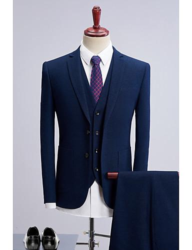 כחול ים נקודות גזרה רגילה פוליאסטר חליפה - סגור צר Single Breasted Two-button