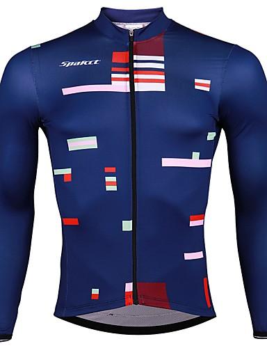 cheap Cycling Clothing-SPAKCT Men's Long Sleeve Cycling Jersey - Dark Blue Stripes Bike Jersey Quick Dry Sports Elastane Polyster Mountain Bike MTB Road Bike Cycling Clothing Apparel / Stretchy / Advanced / Expert / Expert