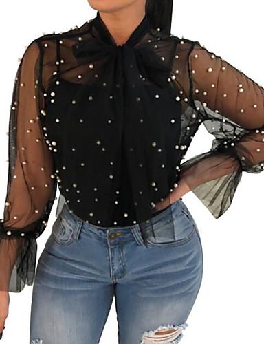 abordables Camisas y Camisetas para Mujer-Mujer Noche Con Cuentas Camisa Corte Ancho Un Color Blanco L / Verano / Transparente / Sexy