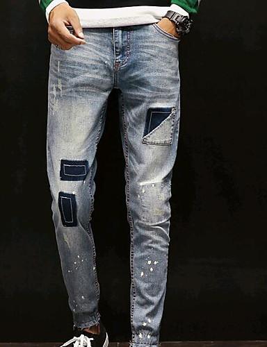 Męskie Bawełna Typu Chino Spodnie Jendolity kolor