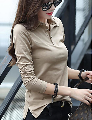 abordables Hauts pour Femme-Tee-shirt Grandes Tailles Femme, Couleur Pleine Actif / Basique Col de Chemise Mince Noir