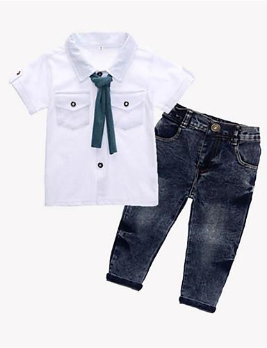 Brzdąc Dla chłopców Podstawowy Jendolity kolor Krótki rękaw Bawełna Komplet odzieży