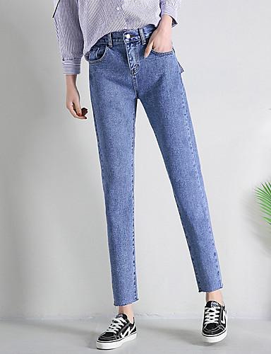 Damskie Szczupła Jeansy Spodnie Solidne kolory Wysoka talia