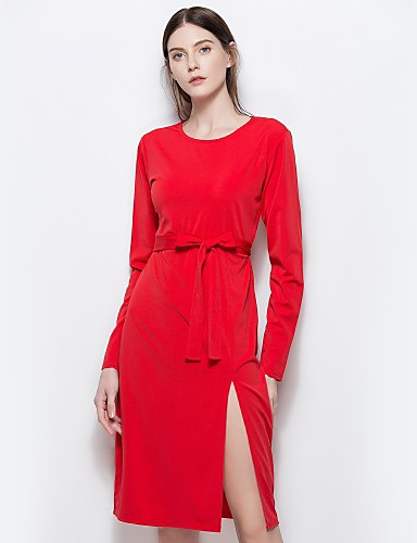 מפוצל, צבע אחיד - שמלה נדן רזה בגדי ריקוד נשים