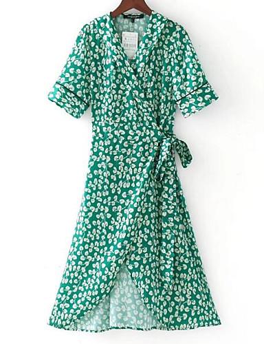 צווארון V מידי פרחוני - שמלה נדן בסיסי בגדי ריקוד נשים