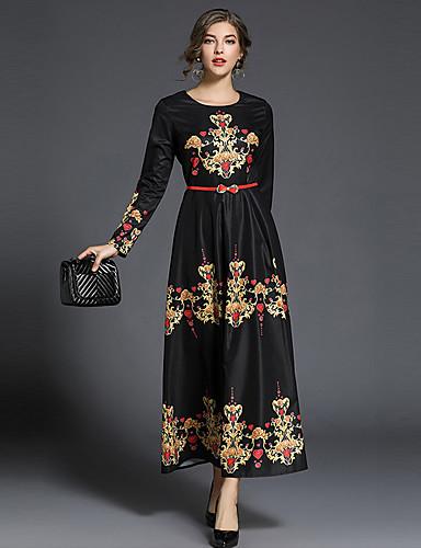 מקסי דפוס, גיאומטרי - שמלה סווינג סגנון רחוב ליציאה בגדי ריקוד נשים