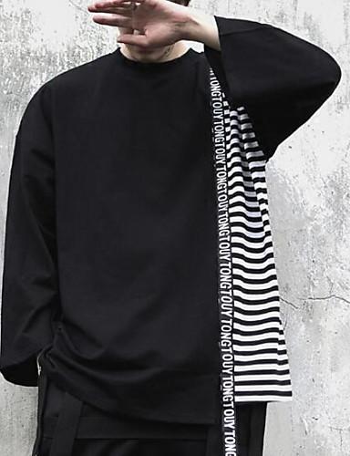 T-shirt Męskie Podstawowy Bawełna Okrągły dekolt Prążki / Kolorowy blok / Długi rękaw