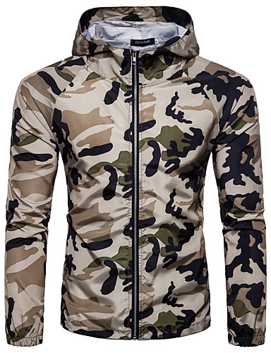 voordelige Herenjacks & jassen-Heren Sport / Uitgaan Lente / Zomer Normaal Jack, camouflage Capuchon Lange mouw Spandex Print Wit / Leger Groen / Khaki