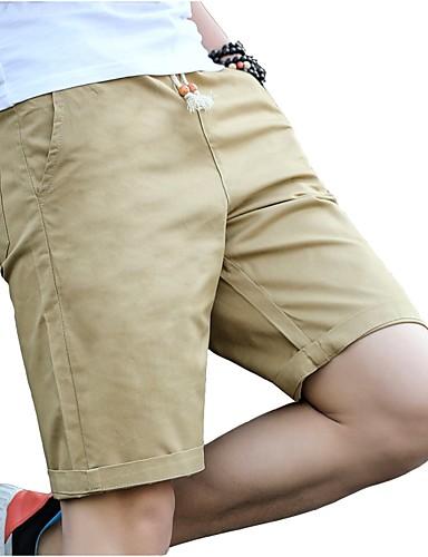 Herr Plusstorlekar Bomull Smal Chinos   Shorts Byxor - Enfärgad Plisserad  Svart   Sport   Vår 1f1dee107c78b
