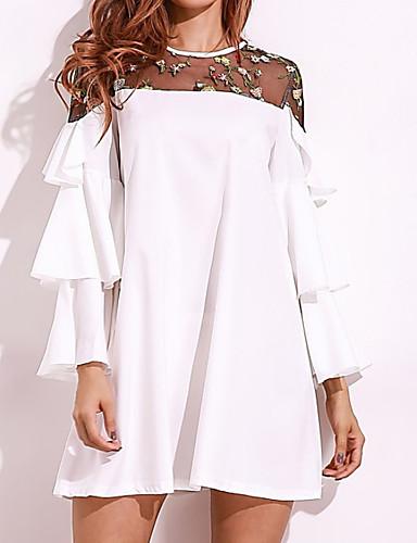 69e6add93cda Women's Flare Sleeve Plus Size Daily Basic Loose Loose Dress - Solid  Colored White Summer Cotton Black Pink Light Blue XXXL XXXXL XXXXXL