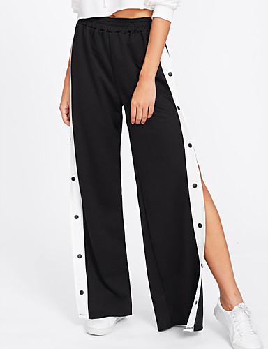 Damskie Podstawowy Bawełna Luźna Spodnie szerokie nogawki / Typu Chino Spodnie Solidne kolory