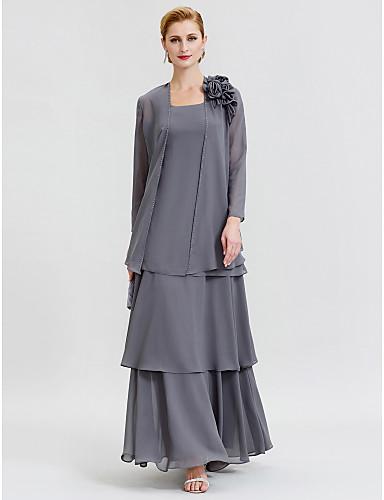 voordelige Wrap Dresses-A-lijn Scoop Neck Tot de grond Chiffon Bruidsmoederjurken met Kralen / Bloem / Gelaagd door LAN TING BRIDE® / Wrap inbegrepen