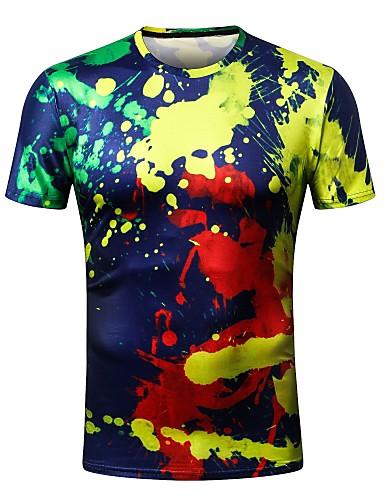 T-shirt Męskie Podstawowy / Moda miejska Okrągły dekolt Szczupła - Geometryczny / Krótki rękaw