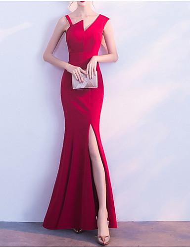 סירה מתחת לכתפיים מקסי אחיד - שמלה נדן רזה בסיסי בגדי ריקוד נשים