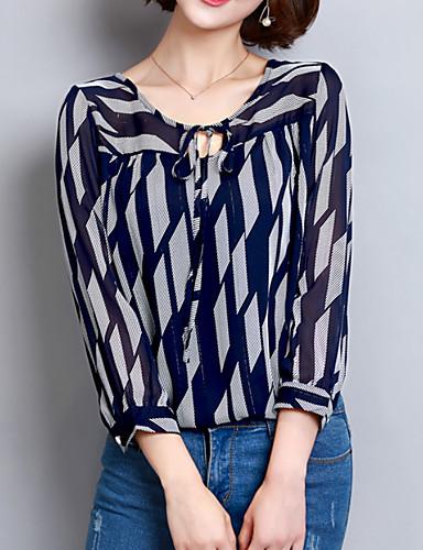 Mujer Básico Estampado Blusa Geométrico   Primavera   Verano   Con Lazo  6592398 2019 –  10.96 2273f733b73