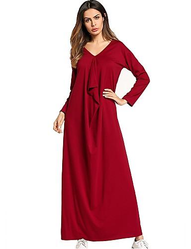 צווארון V מקסי בסיסי, צבע אחיד - שמלה משוחרר סווינג בוהו בגדי ריקוד נשים