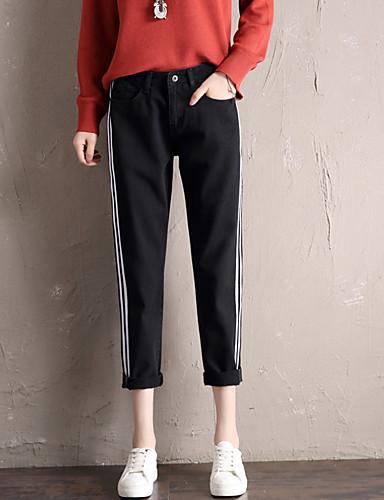 Damskie Podstawowy Bawełna Luźna Jeansy Spodnie Solidne kolory