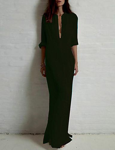 voordelige Maxi-jurken-Dames Katoen Overhemd Jurk - Effen, Standaard Opstaand Maxi