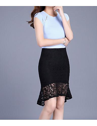 תחרה אחיד - חצאיות כותנה ליציאה צינור מידות גדולות בגדי ריקוד נשים מותניים גבוהים