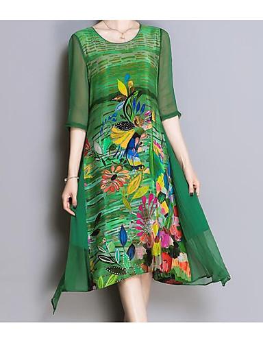Damskie Rozmiar plus Wyjściowe Moda miejska Luźna Sukienka - Kwiaty Asymetryczna