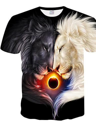 Rund hals Herre - Geometrisk Trykt mønster Basale T-shirt Sort XXL / Kortærmet / Sommer