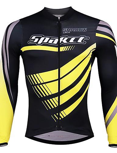 cheap Cycling Clothing-SPAKCT Men's Long Sleeve Cycling Jersey - Black / Red Black / Blue Black / Yellow Stripes Bike Jersey Quick Dry Sports Elastane Polyster Mountain Bike MTB Road Bike Cycling Clothing Apparel / Expert