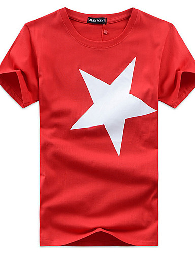 voordelige Heren T-shirts & tanktops-Heren Print T-shirt Geometrisch Ronde hals Zwart / Korte mouw / Zomer