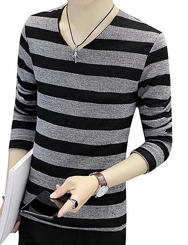 Hombre Básico Camiseta, Escote en Pico A Rayas Negro XXXXL / Manga Larga / Primavera