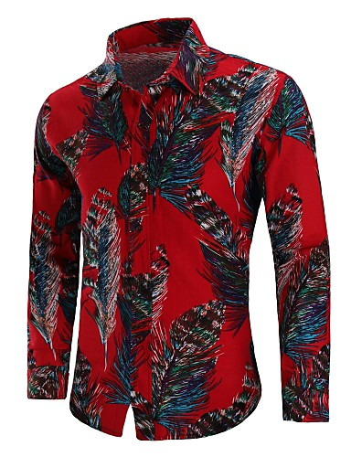 0bc0b6be76f7d Men s Chinoiserie Plus Size Cotton Shirt - Geometric Print   Long Sleeve   06560339