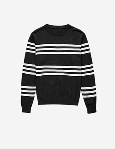 פסים - סוודר שרוול ארוך צווארון עגול בגדי ריקוד גברים