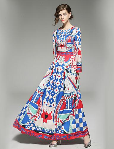 Damskie Wyjściowe Podstawowy Flare rękawem Linia A Sukienka - Geometric Shape, Nadruk Maxi