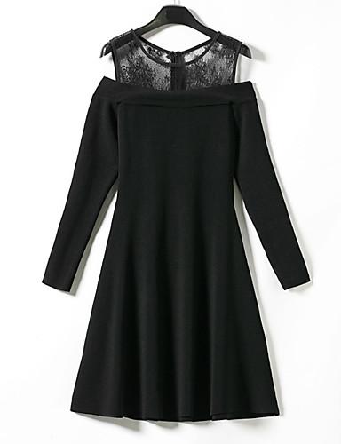 Damskie Urlop Little Black Sukienka - Jendolity kolor, Koronka Patchwork Przed kolano
