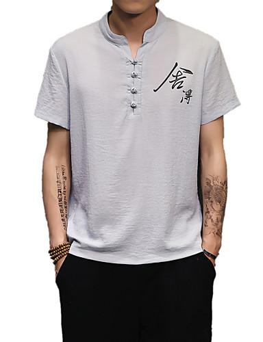 Pánské - Písmeno Čínské vzory Košile, Tisk Bavlna / Podšívka Stojáček Bílá XL / Krátký rukáv / Jaro / Léto