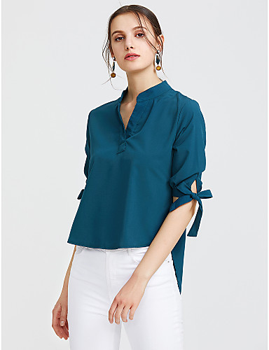 billige Dametopper-Bomull V-hals Skjorte Dame - Ensfarget, Sløyfe Aktiv / Gatemote Arbeid Grønn