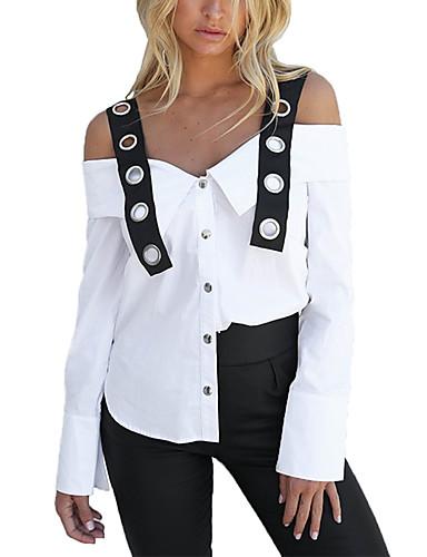 billige Topper til damer-Løstsittende Med stropper Skjorte Dame - Fargeblokk Hvit