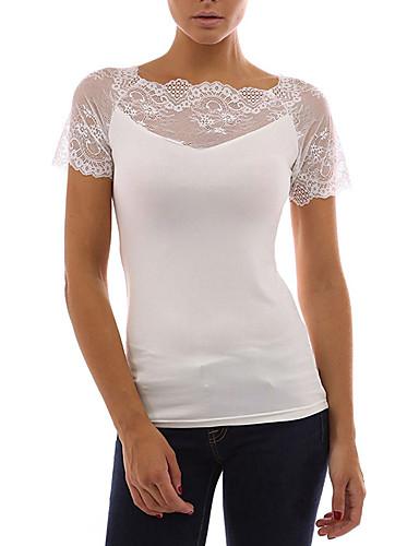 329c785542 Mujer Básico   Chic de Calle Noche Encaje Camiseta