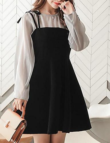 Damskie Moda miejska Little Black Sukienka - Wielokolorowa Przed kolano / Wiosna