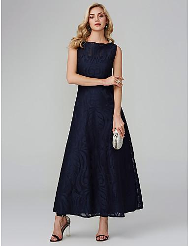 billige Formelle dresser-A-linje Båthals Ankellang Bomull / Mikado Skoleball Kjole med Blonder av TS Couture®