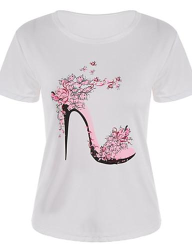 billige Dametopper-Bomull T-skjorte Dame - Blomstret, Trykt mønster Grunnleggende Ferie Hvit / Sommer
