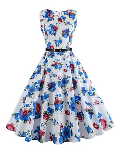 Damskie Święto Vintage Linia A Sukienka - Kwiaty, Nadruk Do kolan