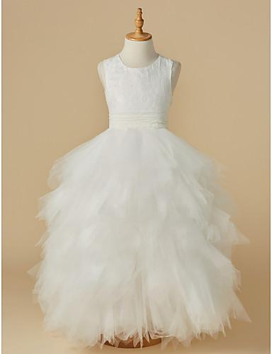 Balowa Do kostki Sukienka dla dziewczynki z kwiatami - Koronka Tiul Bez rękawów Wycięcie z Falbany kaskadowe przez LAN TING BRIDE®