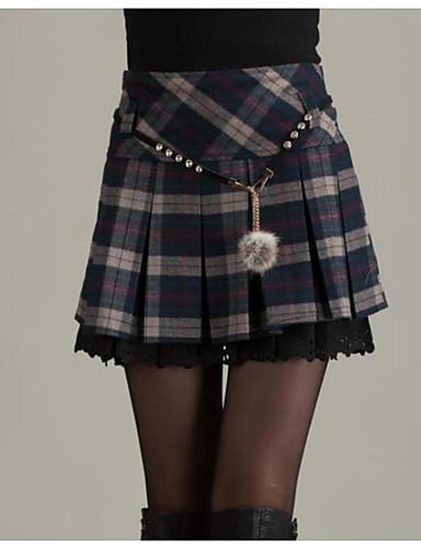 Femme Quotidien Sortie Mini Crochet Jupes - Couleur Pleine Rouge Bleu Marine L XL XXL