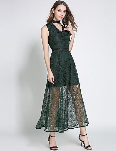 Damskie Wyjściowe Moda miejska / Wyrafinowany styl Linia A Sukienka - Solidne kolory, Koronka W serek Wysoka talia Maxi