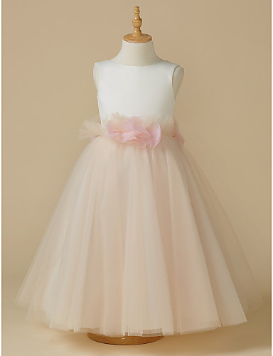 7af179d21e2 A-Line Tea Length Flower Girl Dress - Satin   Tulle Sleeveless Jewel Neck  with Bow(s)   Flower by LAN TING BRIDE®